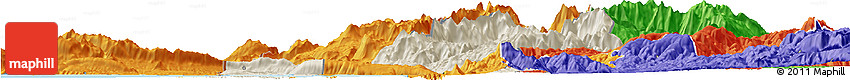 Shaded Relief Horizon Map of Shkodër, political outside