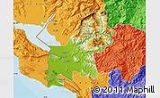 Physical Map of Shkodër, political outside