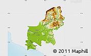 Physical Map of Shkodër, single color outside
