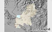 Shaded Relief Map of Shkodër, darken, desaturated
