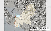 Shaded Relief Map of Shkodër, darken, semi-desaturated