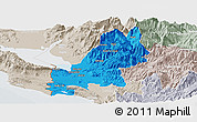Political Panoramic Map of Shkodër, lighten, semi-desaturated
