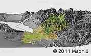 Satellite Panoramic Map of Shkodër, desaturated