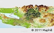 Satellite Panoramic Map of Shkodër, physical outside