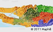 Satellite Panoramic Map of Shkodër, political outside