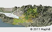 Satellite Panoramic Map of Shkodër, semi-desaturated