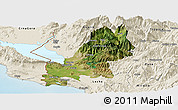 Satellite Panoramic Map of Shkodër, shaded relief outside