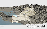 Shaded Relief Panoramic Map of Shkodër, darken