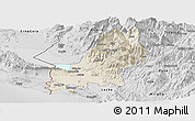 Shaded Relief Panoramic Map of Shkodër, desaturated