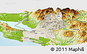 Shaded Relief Panoramic Map of Shkodër, physical outside