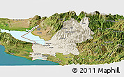 Shaded Relief Panoramic Map of Shkodër, satellite outside