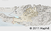 Shaded Relief Panoramic Map of Shkodër, semi-desaturated