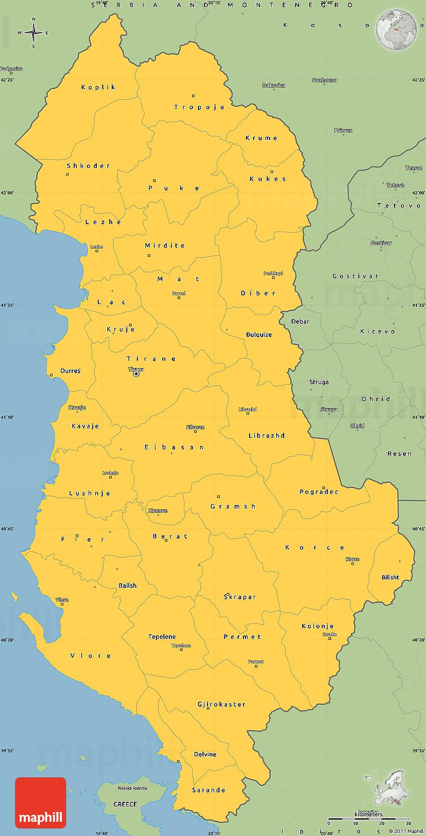 Savanna Style Simple Map of Albania