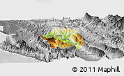 Physical Panoramic Map of Tepelenë, desaturated
