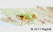 Physical Panoramic Map of Tepelenë, lighten