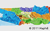 Physical Panoramic Map of Tepelenë, political outside