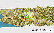 Physical Panoramic Map of Tepelenë, satellite outside