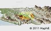Physical Panoramic Map of Tepelenë, semi-desaturated