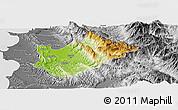 Physical Panoramic Map of Tiranë, desaturated