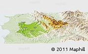 Physical Panoramic Map of Tiranë, lighten