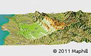 Physical Panoramic Map of Tiranë, satellite outside