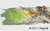 Physical Panoramic Map of Tiranë, semi-desaturated