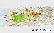 Physical Panoramic Map of Tiranë, shaded relief outside