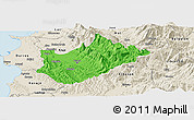 Political Panoramic Map of Tiranë, shaded relief outside