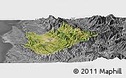 Satellite Panoramic Map of Tiranë, desaturated