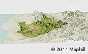 Satellite Panoramic Map of Tiranë, lighten