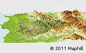 Satellite Panoramic Map of Tiranë, physical outside