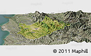Satellite Panoramic Map of Tiranë, semi-desaturated