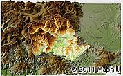 Physical 3D Map of Tropojë, darken