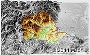 Physical 3D Map of Tropojë, desaturated