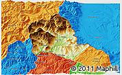 Physical 3D Map of Tropojë, political outside