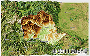 Physical 3D Map of Tropojë, satellite outside