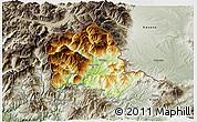 Physical 3D Map of Tropojë, semi-desaturated