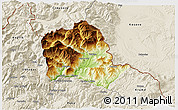 Physical 3D Map of Tropojë, shaded relief outside