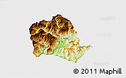 Physical 3D Map of Tropojë, single color outside