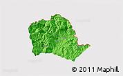 Political 3D Map of Tropojë, cropped outside