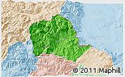 Political 3D Map of Tropojë, lighten