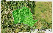 Political 3D Map of Tropojë, satellite outside