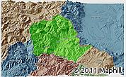 Political 3D Map of Tropojë, semi-desaturated