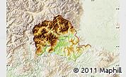 Physical Map of Tropojë, lighten