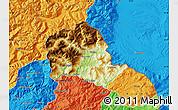 Physical Map of Tropojë, political outside