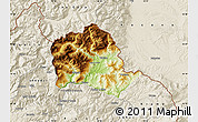 Physical Map of Tropojë, shaded relief outside