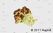 Physical Map of Tropojë, single color outside