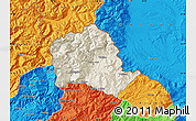 Shaded Relief Map of Tropojë, political outside