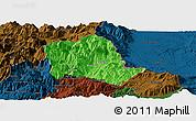 Political Panoramic Map of Tropojë, darken