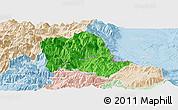 Political Panoramic Map of Tropojë, lighten